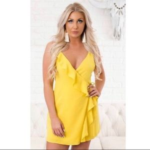Everly Yellow Wrap Dress